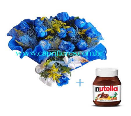 1531 ♥ Buquê com Rosas Azuis e Nutella
