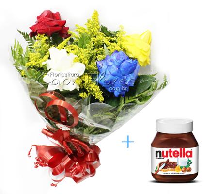 1532 Lindo Buquê de Rosas Dobradas Coloridas e 1 Pote Nutella 650 gramas