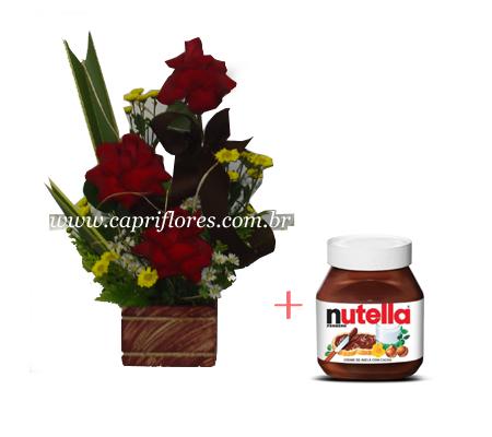 1533 Iquibana de Rosas Importadas e Nutella