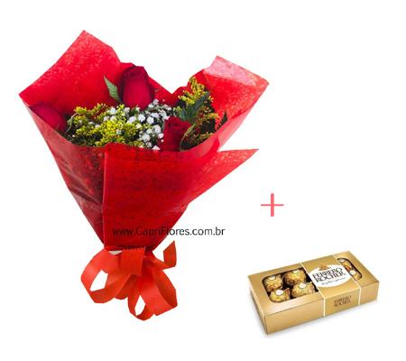 1565 Buque com 3 Rosas + Ferrero Rocher