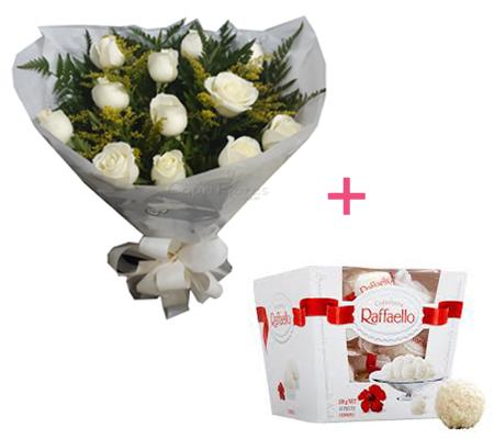 1578 ♥ Buquê de Rosas White + Raffaello