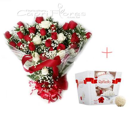 1622 ♥ Buquê de Rosas e Chocolate Raffaello