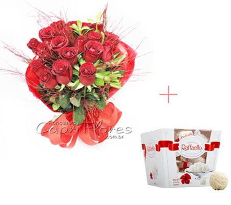 1623 ♥ Buquê Red com Caixa de Bombom Raffaello