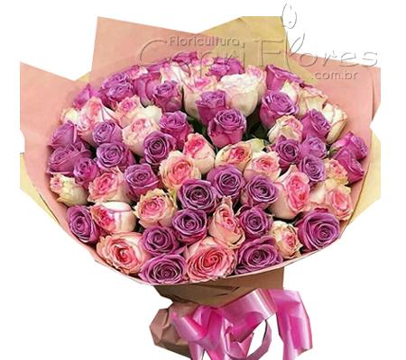 1725 ♥ Buquê Misto de Rosa Cor de Rosa e Rosa Lilás