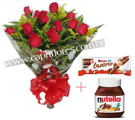 1758 Buquê Tradiconal + Nutella 140 Gramas + Kinder Bueno