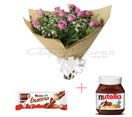 1759 ♥ Buquê com 1 Dúzia de Rosas Lilás + 1 Pote de Nutella 140 Gramas + 1 Kinder Bueno