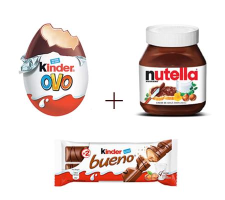 1762 ♥ 1 Kinder Ovo + 1 Kinder Bueno + 1 Pote de Nutella 140 Gramas