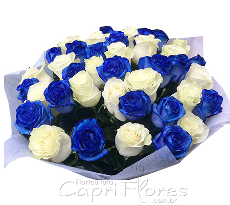 1847 ♥ Buquê de Rosas Duo Blue and White