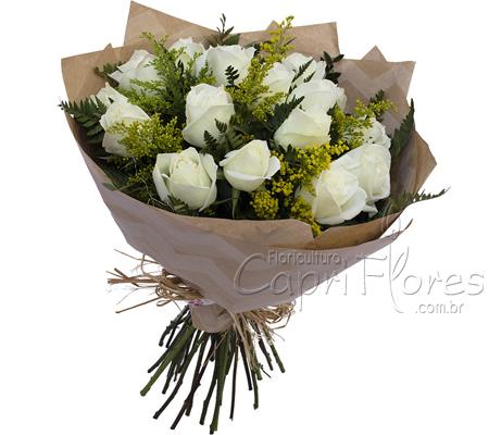 1850 ♥ Buquê de Rosas Brancas 15 Rosas