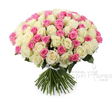 1915 Buquê Gigante de Rosas Cor de Rosa e Branca
