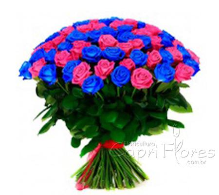 1916 ♥ Buquê de Rosas Gigante, Rosas Pink e Rosas Azuis