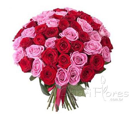1919 Buquê de Rosas Lilás e Rosas Vermelhas