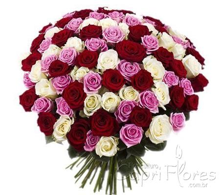 1920 ♥ Buquê de Rosas Lilás, Rosas Brancas e Rosas Vermelhas