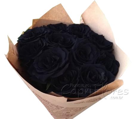 1956 Buquê com 6 Rosas Negras / Preta