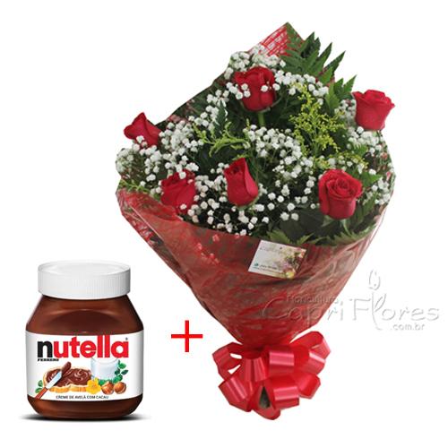 1959 Buquê de Meia Dúzia de Rosas + Nutella 140 gramas