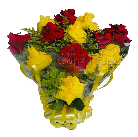 2029 Buquê de Rosas Dobradas Amarela e Vermelha