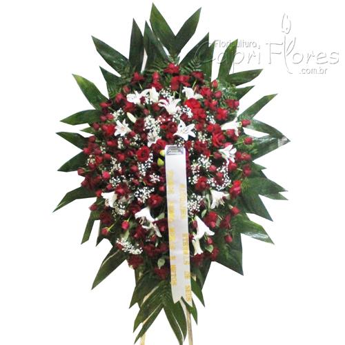 2032 Coroa de Flores com Rosas  e Lírio Branco