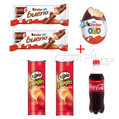2055 1 Kinder Ovo + 2 Kinder Bueno + 2 Pote de Pringles e 1 Coca - Cola de 600 ml.
