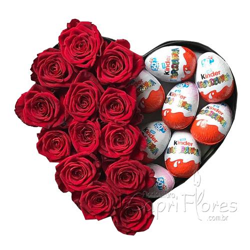 2089 ♥ Box Coração de Rosas com Kinder Ovo!! ♥