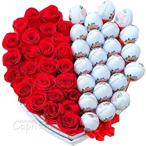 2091 Box Coração de Rosas e Kinder Ovo