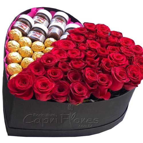 2092 Box Coração Rosas, Ferrero e Nutella 140 gramas