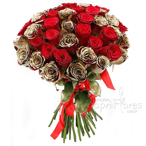 2166 ♥ Buquê de Rosa Vermelha com Rosas Douradas