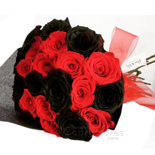 2167 Lindo Buquê de Rosas Vermelhas e Pretas!!