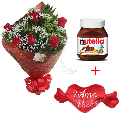 2279 ♥ Buquê de Rosas + Nutella + Pelúcia