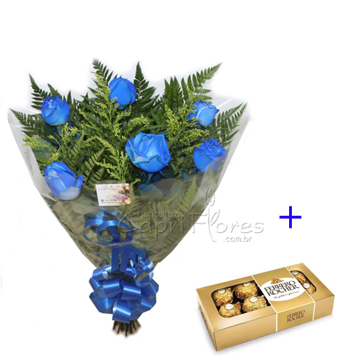 2282 ♥ Buquê de Rosas Azul + Ferrero Rocher