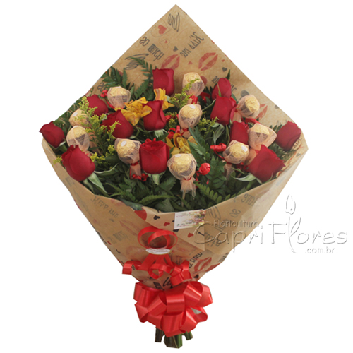 2283 Buquê de Flores Luxo + Ferrero