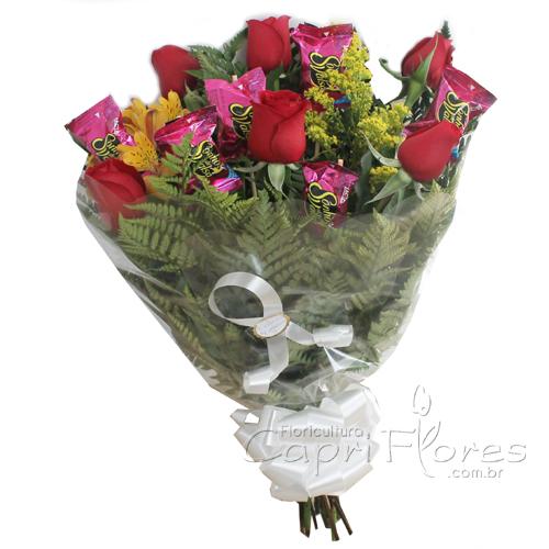 2298 Buquê de Meia Dúzia de Rosas + Sonho de Valsa