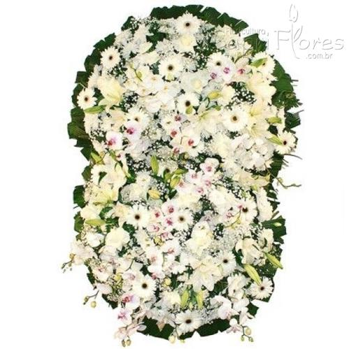 2327 Coroa de flores Grande com Orquídeas Brancas só Flores Nobres.