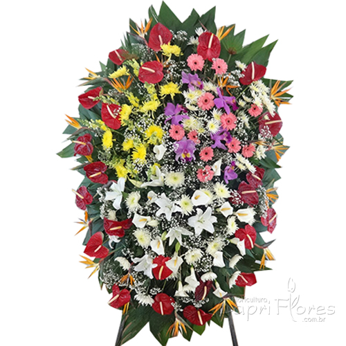 2328 Coroa de flores Grande pra velório com flores Mistas
