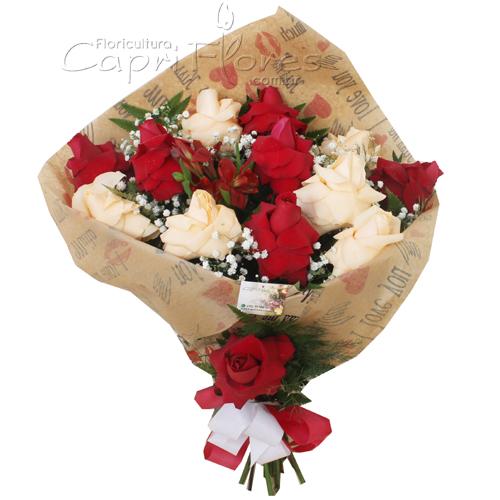 2349 Buquê de Rosas Dobradas Chá e Vermelha