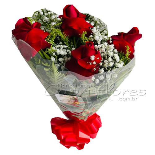 2356 ♥ Buquê Com 4 Rosas Dobradas