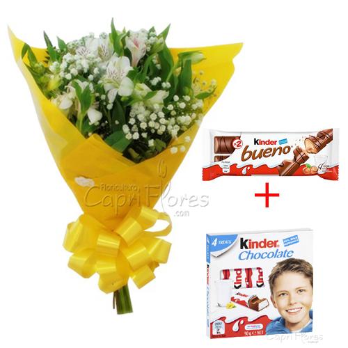 2427 Buquê de Alstroeméria + Kinder Bueno + Kinder Chocolate