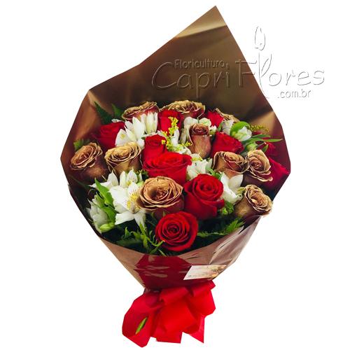 2681 Buquê de Rosas Dourada e Vermelha