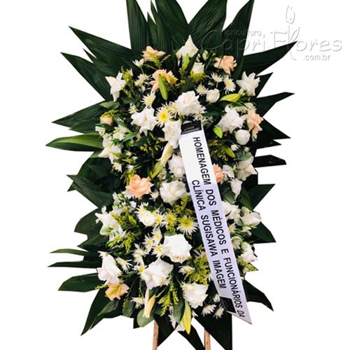 2683 Coroa de Flores com Rosas Dobradas e Lírios