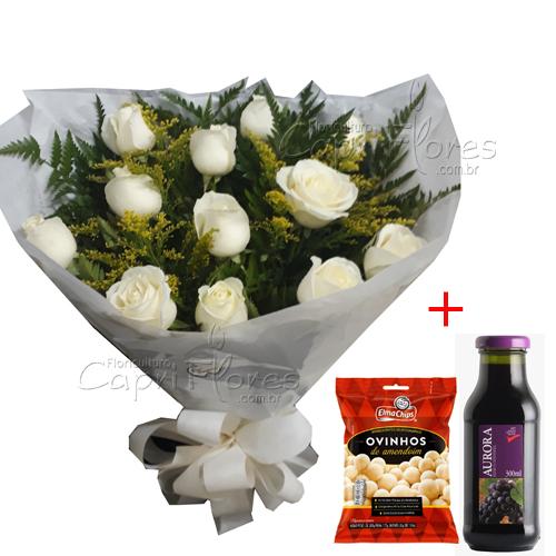 2906 ♥ Buqueê de Rosas Brancas + Suco de Uva + Ovinhos