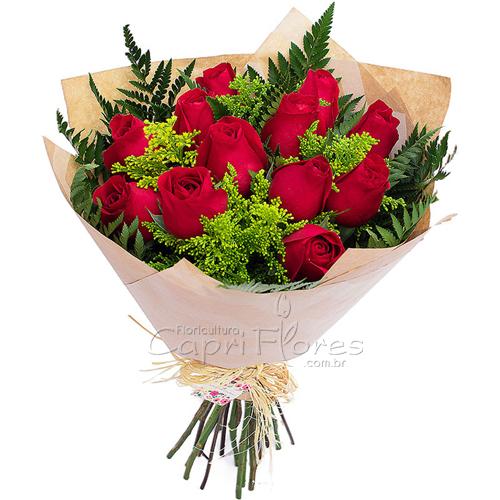 2938 ♥ Buquê de Rosas Vermelhas  - Papel Kraft