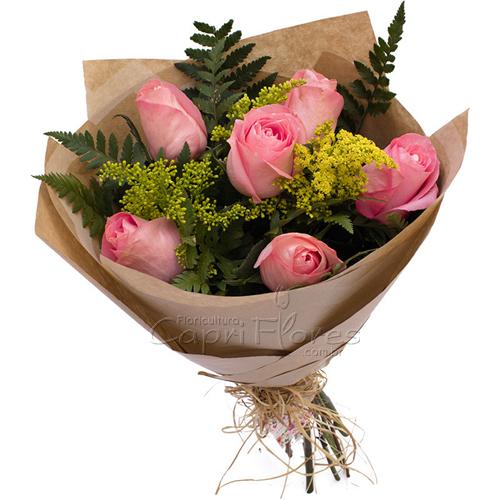 2941 ♥ Buquê com Meia Dúzia de Rosas Cor de Rosa