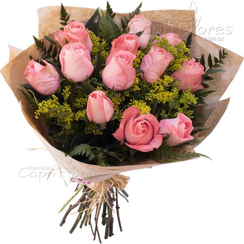 2942 Buquê com 12 Rosas Cor de Rosa