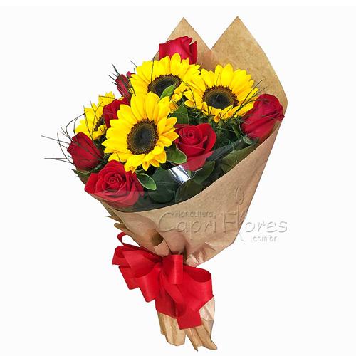 2944 ♥ Buquê de Rosas e Girassol