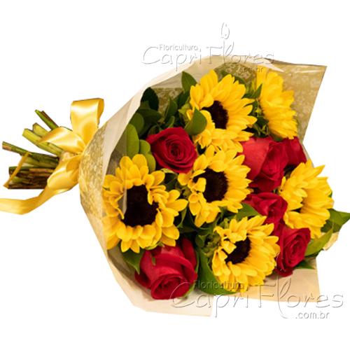 2945 ♥ Buquê com 6 Rosas + 6 Girassóis