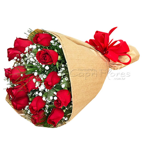 2947 ♥ Buquê com 15 Rosas Vermelhas