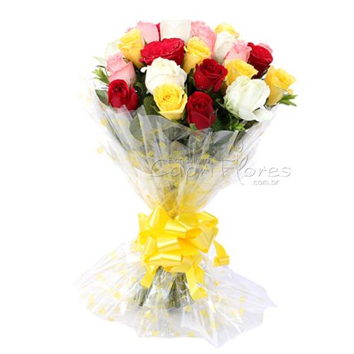 2951 ♥ Buquê com 25 Rosas Coloridas!