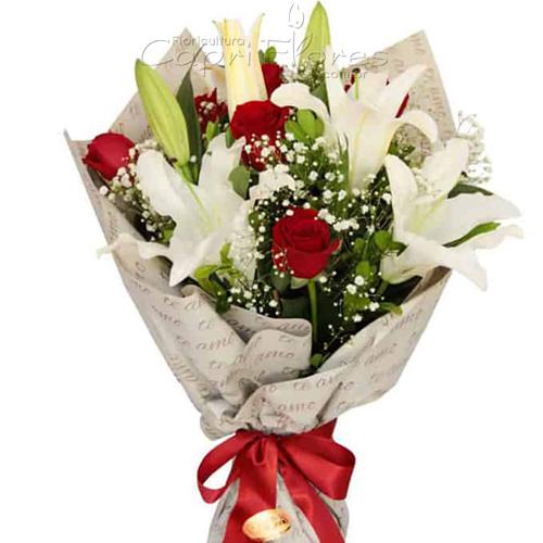 2952 ♥ Buquê de Rosas Vermelhas e Lírio