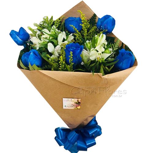 2957 ♥ Buquê com Meia Dúzia de Rosas Azuis