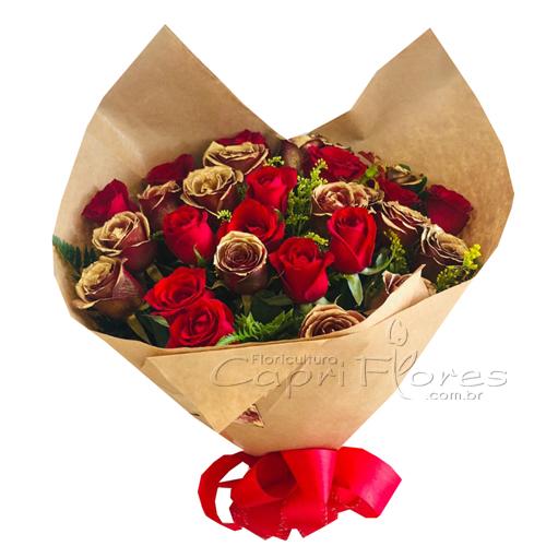3034 ♥ Buquê com Rosas Douradas e Vermelhas