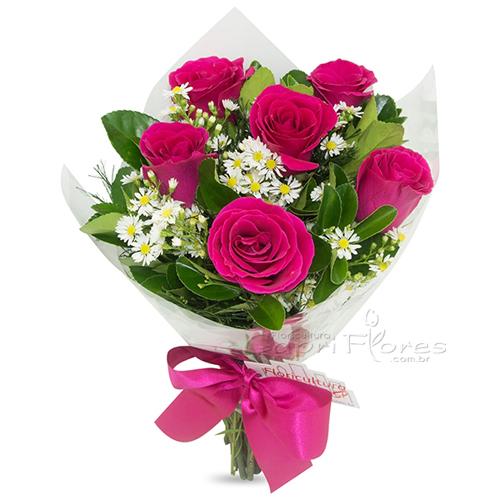 3036 ♥ Buquê com meia Dúzia de Rosas Pink